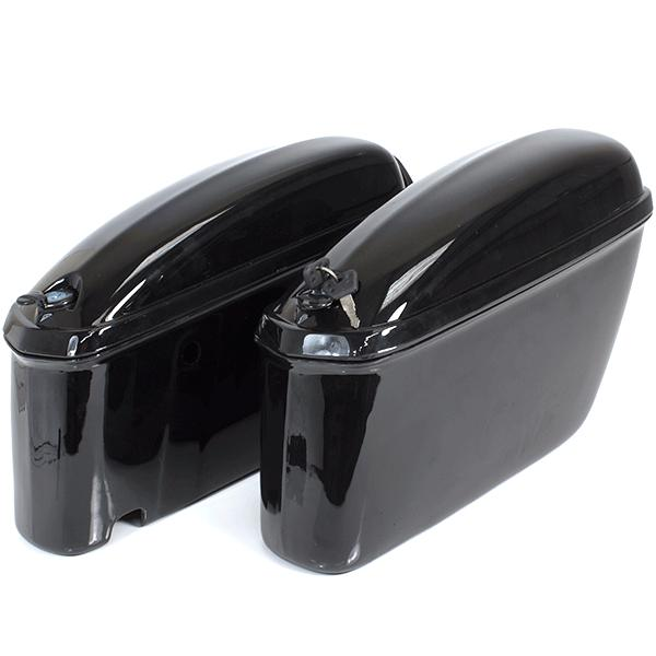 Pair of Hard Motorcycle Gloss Black Panniers
