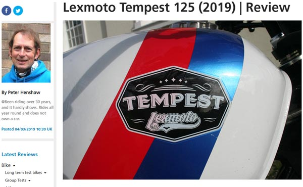 Bennetts Lexmoto Tempest 125cc Review