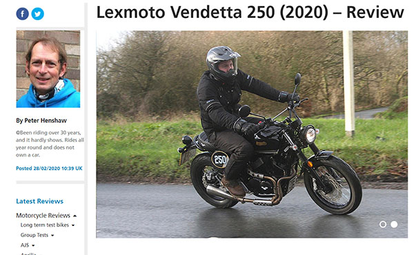 Bennetts Lexmoto Vendetta 250cc Review
