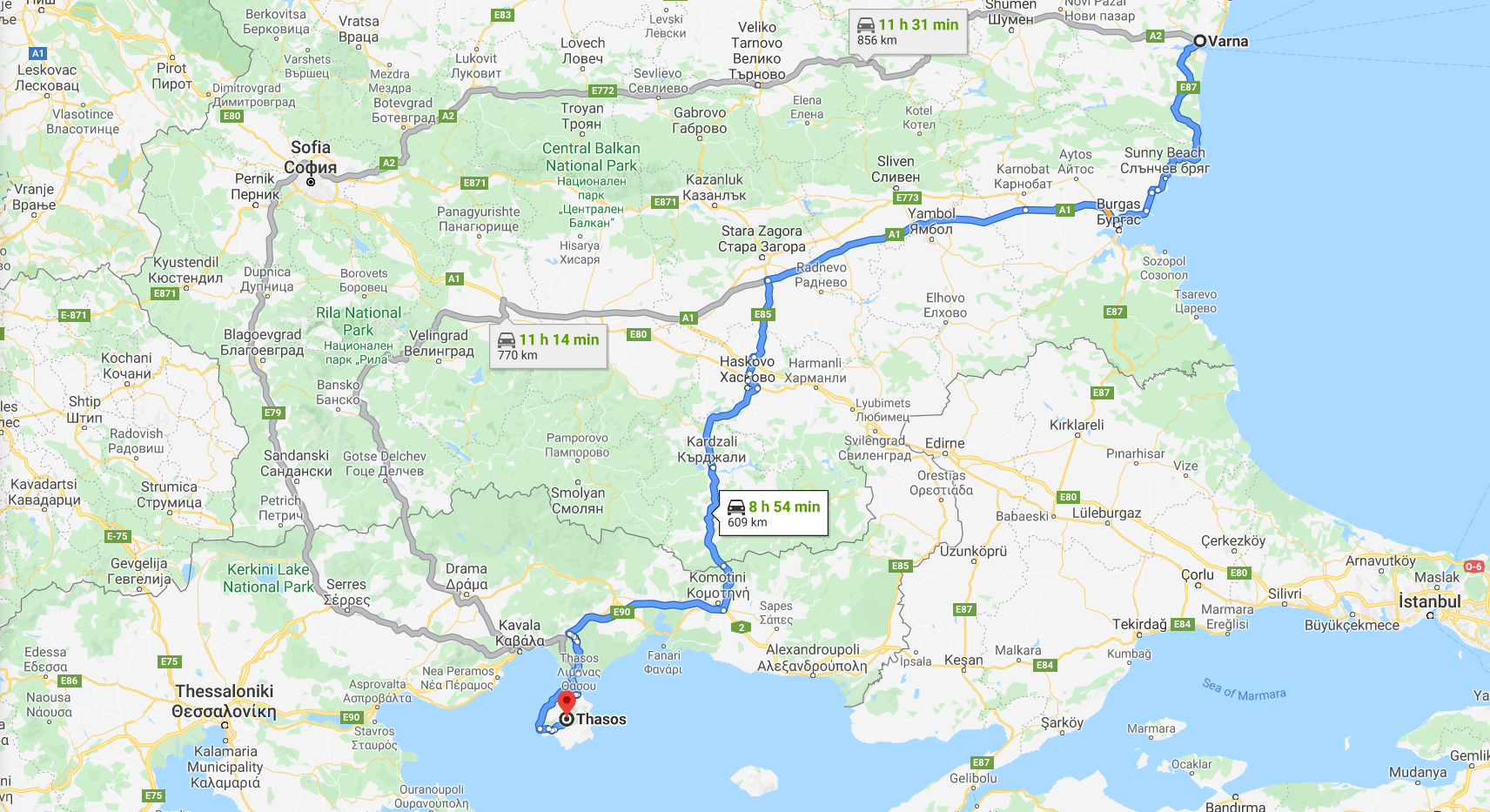Route from Varna to Thassos